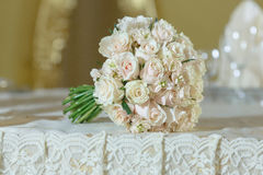 Roses peony wedding bouquet white gold color decoration. Roses peony wedding bouquet flower arrangement white color decoration Royalty Free Stock Images