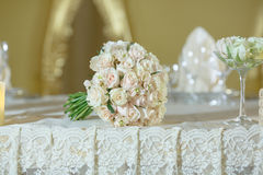Roses peony wedding bouquet white gold color decoration. Roses peony wedding bouquet flower arrangement white color decoration Royalty Free Stock Image