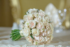 Roses peony wedding bouquet white gold color decoration. Roses peony wedding bouquet flower arrangement white color decoration Stock Photography