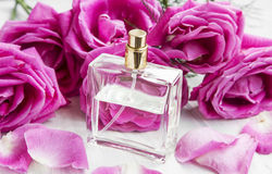 Roses perfume in transparent bottle with pink roses and petals Royalty Free Stock Photo