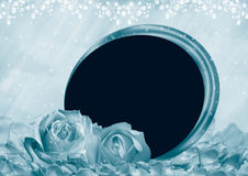 Roses photo frame. Photo frame with roses on romantic background Stock Photos