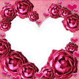 Roses photo frame wits Hearts Stock Image