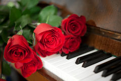 Roses on piano. Old piano with red roses Stock Photo