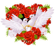 Roses and pigeons. Red roses and two white pigeons Royalty Free Stock Photos