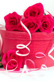 Roses with a pink box Royalty Free Stock Images