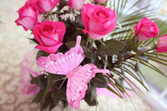 Roses with pink butterfly card Stock Photo