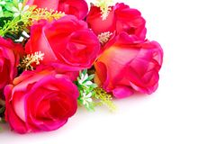 Roses. Pink fabric roses on white background Royalty Free Stock Photography