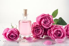 Roses, pink perfume water stock photo
