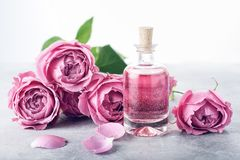 Roses, pink perfume water. Perfumed Rose Water in glass bottle, roses royalty free stock image