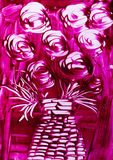 Roses in pink with wicker vase Stock Photo