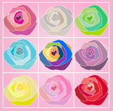 roses polygon pattern illustration graphic Stock Photo