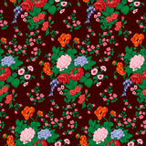 Roses, poppies, and wild flowers seamless pattern. Bouquet with red rose, poppies, bluebells, wild flowers seamless vector pattern Royalty Free Stock Image