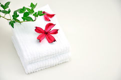 Roses Potpourri and White Towels. Royalty Free Stock Photos