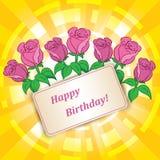 Roses pour l'anniversaire avec le fond jaune de vecteur illustration stock