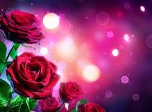 Roses pour le jour de valentines - rougeoyer de forme de coeur images stock