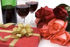 Roses With Present And Wine royalty free stock images