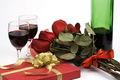 Roses With Present And Wine Royalty Free Stock Photos