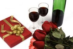 Roses With Present And Wine royalty free stock photography