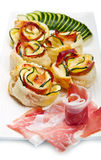 Roses puff pastry with zucchini and bacon Royalty Free Stock Photo