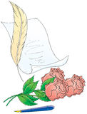 Roses quill pen and paper. Artistic illustration of a quill pen and parchment paper, rose buds, and a fountain pen Royalty Free Stock Image