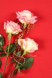 Roses on Red Stock Photo