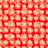 Roses on a red background abstract vector illustration wallpaper Stock Photo