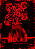 Roses in red and black painting. Roses in red on a black background wax painting royalty free stock photo
