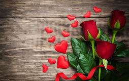 Roses and red hearts Royalty Free Stock Photography