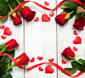 Roses and red hearts Royalty Free Stock Images