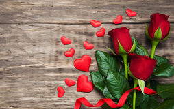 Roses and red hearts Royalty Free Stock Photos