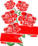 Roses with red ribbon Stock Photos