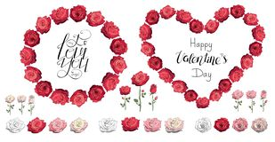 Roses. Red rose wreath. Happy Valentine`s day. I love you. Lettering. Heart made of roses. Set of roses isolated on a stock illustration