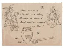 """Roses are red, violets are blue.."" rhyme and drawings on old paper background Stock Photos"