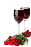 Roses and red wine stock images