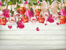 Roses with ribbon. EPS 10. Valentines day card - Roses with ribbon. EPS 10 vector file included royalty free illustration