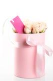 Roses roses dans le boîte-cadeau Images stock