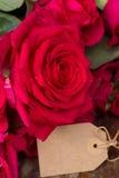 Roses roses foncées avec les coeurs et l'étiquette Photographie stock