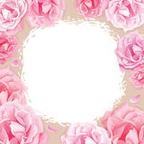 Roses roses sur un fond beige Illustration Stock