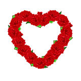 Roses rouges avec des feuilles présentées sous forme de coeur sur un b blanc Image libre de droits