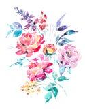 Roses rouges d'aquarelle - fleurs, brindilles, feuilles, bourgeons Photo libre de droits