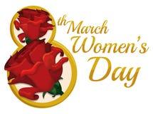 Roses rouges dans le nombre d'or huit pour le jour des femmes, illustration de vecteur Image libre de droits