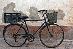 Roses rouges dans le panier de la vieille bicyclette rouillée 2 Photo libre de droits
