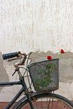 Roses rouges dans le panier de la vieille bicyclette rouillée 6 Image stock