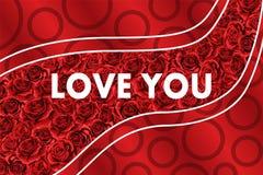 Roses rouges de fleur tirée par la main de fond Les valentines conçoivent la carte de voeux de vacances illustration de vecteur