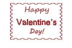 Roses rouges de Valentine de jour heureux du ` s marquant avec des lettres le fond encadré Images libres de droits