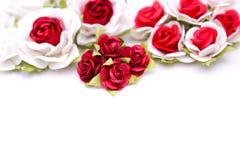 Roses rouges et roses blanches sur le backgroud blanc, amour de Saint Valentin Photo libre de droits