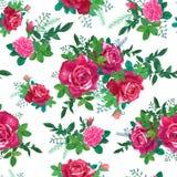 Roses rouges et roses, feuilles de vert Photos stock