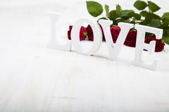 Roses rouges et le mot Images stock