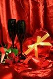 Roses rouges et vin Images stock