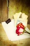 Roses rouges, livre blanc et vieilles photos Photo stock